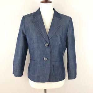 NWT LOFT Chambray Denim Blazer 3/4 Sleeves